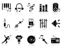 Black music audio icons set Royalty Free Stock Photos