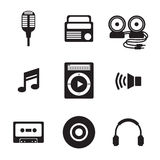 Black Music Icons. Vector Illustration Stock Photography