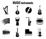 Black Music Instrument Icons on White Background royalty free illustration