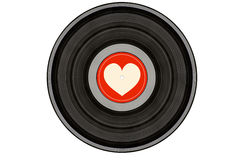 Black music record with heart on red label royalty free stock photography