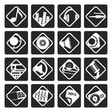 Black Music and sound icons. Vector Icon Set Royalty Free Stock Image