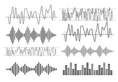 Black music sound waves Stock Photos