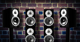 Black music speakers Stock Photo