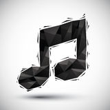Black musical note geometric icon made in 3d modern style, best Royalty Free Stock Images