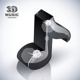 Black musical note icon from upper view . Royalty Free Stock Photos