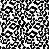 Black musical notes seamless pattern, black and white Royalty Free Stock Photos