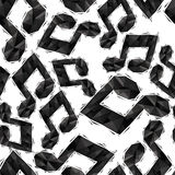 Black musical notes seamless pattern, geometric contemporary sty Stock Images