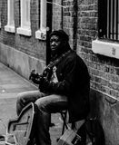 Black musician. British black musician in London streets Royalty Free Stock Photos