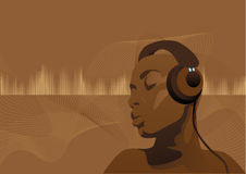 Black musicwoman. Abstract vector illustration of a black woman listening to music Royalty Free Stock Image