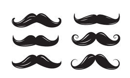 Black mustache icons. Vector black mustache icons on white background Royalty Free Stock Photography