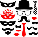 Black mustaches. Set of black mustaches,lips and silhouettes design elements for party props isolated on white background Royalty Free Stock Photos
