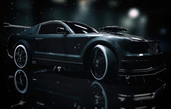 Black Mustang Sports Car Stock Photos
