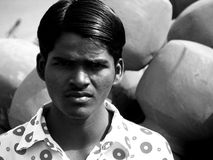 Black n' White. An Indian boy poses for a picture Royalty Free Stock Photography