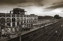black n white railway station with beautiful sky Royalty Free Stock Photo