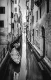 Black nad white Venice. Black nad white canal and gondola in Venice, Italy Stock Photos