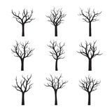 Black Naked Trees without leaves. Vector Illustration. Set of Naked Trees without leaves. Vector Illustration Stock Image
