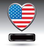 Black nameplate under american heart Stock Photo