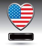 Black nameplate under american heart Stock Photo
