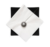 Black napkin holder with paperweight - view from above Stock Photos