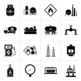 Black Natural gas fuel and energy industry icons. Vector icon set royalty free illustration