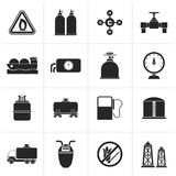 Black Natural gas objects and icons. Vector icon set Stock Images