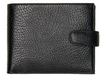 Black natural leather wallet isolated on white background Royalty Free Stock Photo
