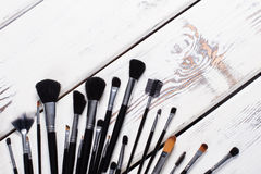 Black natural makeup brushes. Royalty Free Stock Photo