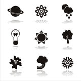 Black nature icons Royalty Free Stock Photo