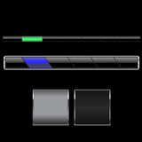 Black navigation bars. A pair of black glossy navigation bars and another pair of cool sleek stylish buttons Stock Images