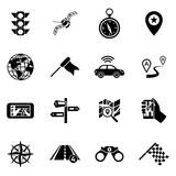 Black Navigation Icon Set. Sixteen flat  black navigation icon set with means of transmitting information to find a convenient route vector illustration Stock Images