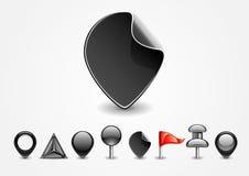 Black navigation signs. Set of eight black navigation signs on white background Royalty Free Illustration
