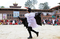 Black-necked Crane dance at the Gangtey Monastery, Gangteng, Bhutan Royalty Free Stock Image