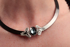 Black Necklace grey gem Stock Images