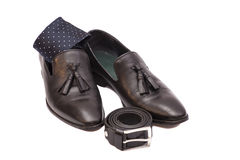 Black necktie ,black men's shoes and leather belt Royalty Free Stock Image