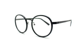 Black nerd glasses isolated on white Royalty Free Stock Photos