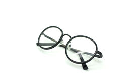 Black nerd glasses isolated on white Royalty Free Stock Photography