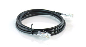Black network ethernet connection cable with RJ-45 connector Stock Photos