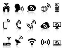 Black network icons set Stock Photos