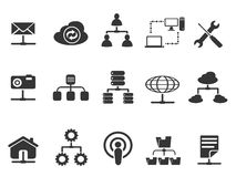 Black network icons set Stock Images