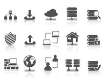 Black network server hosting icons set. Isolated black network server hosting icons set from white background Stock Photos