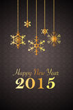 Black new year 2015 background with golden snowflake ornaments. New year 2015 background, black with golden snowflake ornaments, vignette, retro vector illustration