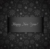 Black New Year card with stars, sun and moon. Stock Photos