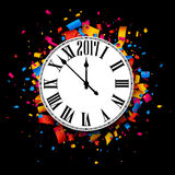 Black 2017 New Year clock background. Black 2017 New Year clock with color confetti. Vector paper illustration Stock Images
