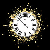 Black 2017 New Year clock background. Black 2017 New Year clock with golden confetti. Vector paper illustration Stock Images