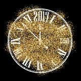 Black 2017 New Year clock background. Black 2017 New Year background with original clock. Vector illustration Royalty Free Stock Images