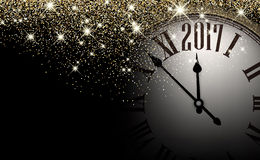 Black 2017 New Year clock background. Black 2017 New Year shining background with clock. Vector illustration Vector Illustration
