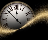 Black 2017 New Year clock background. Black 2017 New Year shining background with clock. Vector illustration Stock Images