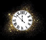 Black 2017 New Year clock background. Black 2017 New Year shining background with clock. Vector illustration Royalty Free Stock Photos