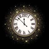 Black 2017 New Year clock background. Black 2017 New Year shining background with clock. Vector illustration Royalty Free Stock Photography
