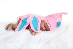 Black newborn baby girl sleeping. Royalty Free Stock Images